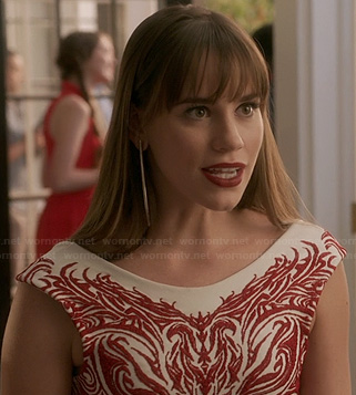 Charlotte's red and white embroidered pattern dress on Revenge