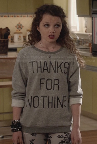 Dorrit's Thanks For Nothing Sweatshirt on The Carrie Diaries