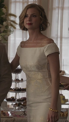 Emily's white metallic foil dress on Revenge