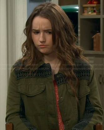 Eve's green jacket with black embroidery on Last Man Standing