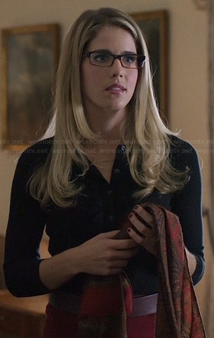 Felicity's black cardigan and red skirt on Arrow