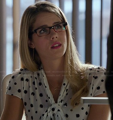Felicity's black and white sequin dot pussybow top on Arrow