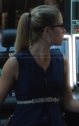 Felicity's blue zip front peplum dress on Arrow