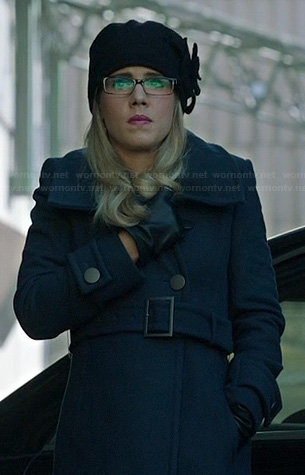 Felicity's navy blue trench coat on Arrow