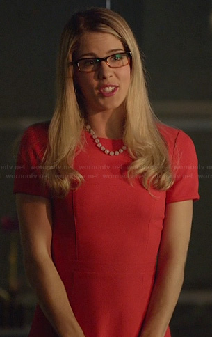 Felicity's red and cream colorblock dress on Arrow