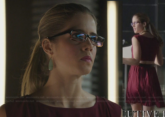 Felicity's red dress with back cutout on Arrow