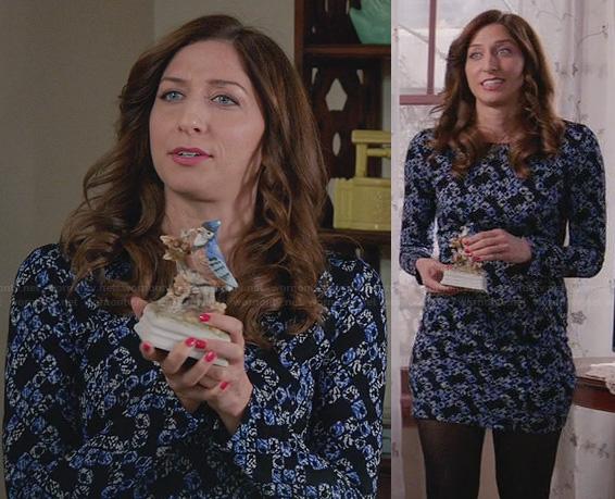 Gina's printed long sleeve mini dress for Thanksgiving on Brooklyn Nine-Nine