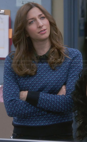 Gina's blue dot print sweater on Brooklyn Nine-Nine