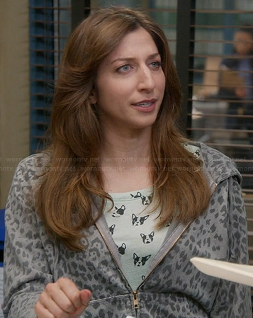 Gina's dog print top and grey leopard print hoodie on Brooklyn Nine Nine
