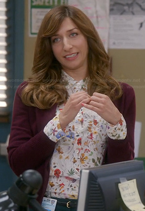 Gina's white floral print shirt on Brooklyn Nine Nine