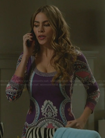 Gloria's purple printed long sleeve dress on Modern Family