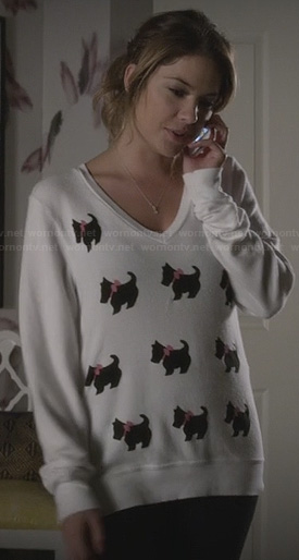 Hanna's dog print sweater on Ravenswood