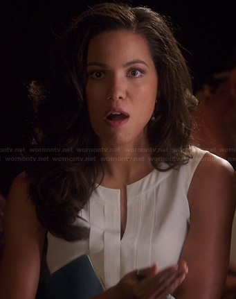 Heather's white sleeveless split neck top on Parenthood