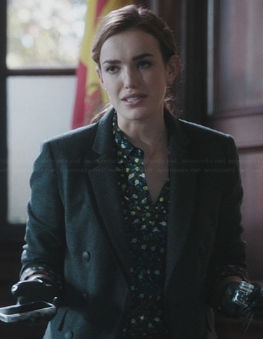 Jemma's floral shirt and grey jacket on Agents of SHIELD