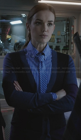 Jemma's blue striped shirt with matching tie on Agents of SHIELD