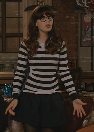 Jess's black and white striped sweater on New Giri