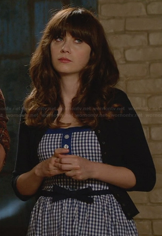 Jess's blue gingham check dress on New Girl