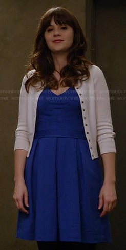 Jess's blue v-neck dress on New Girl