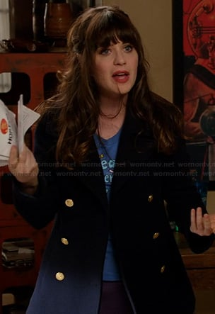 Jess's navy jacket with gold buttons on New Girl