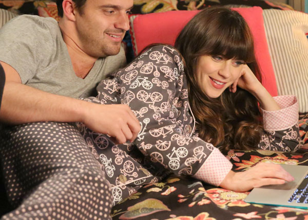 Jess's bike print PJs on New Girl