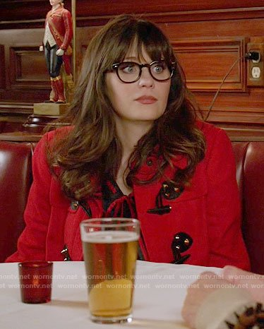 Jess's red toggle coat on New Girl