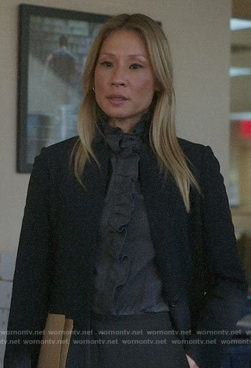 Joan's black coat with leather collar on Elementary