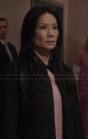 Joan's black leather collar coat on Elementary