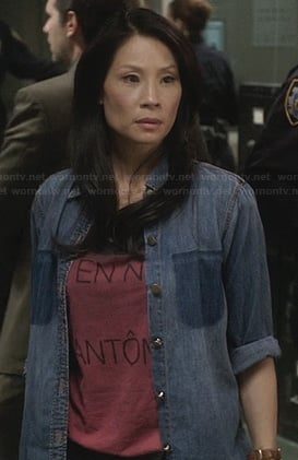 Joan's denim pocketless shirt on Elementary