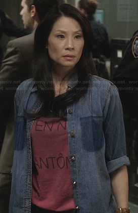 "Joan's ""Vie En Noir Fantome"" tshirt and denim shirt on Elementary"