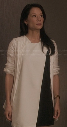 Joan's black and white asymmetric colorblock dress on Elementary
