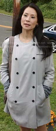 Joan's beige double breasted collarless coat on Elementary