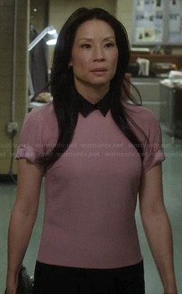 Joan's pink short sleeve dress with collar on Elementary