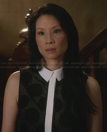 Joan's black and white polka dot shirt dress on Elementary
