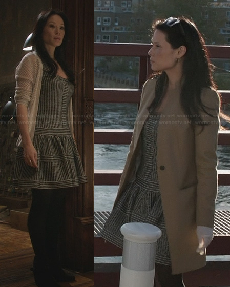 Joan's striped drop waist dress on Elementary