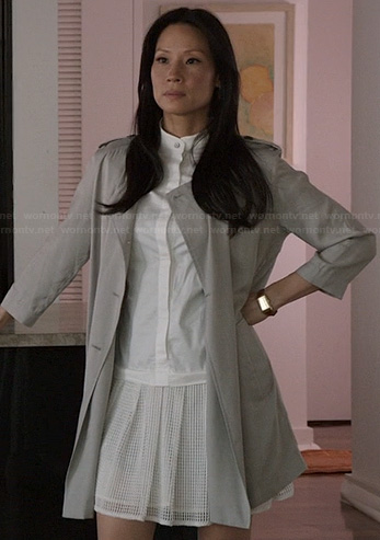 Joan's white drop waist dress on Elementary