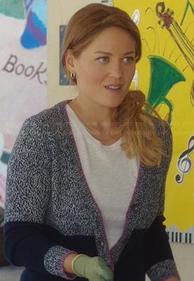 Kristina's black lace stripe dress on Parenthood