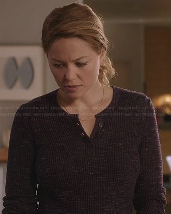 Julia's purple waffle henley top on Parenthood