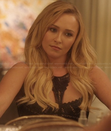 Juliette's black scalloped edge dress on Nashville