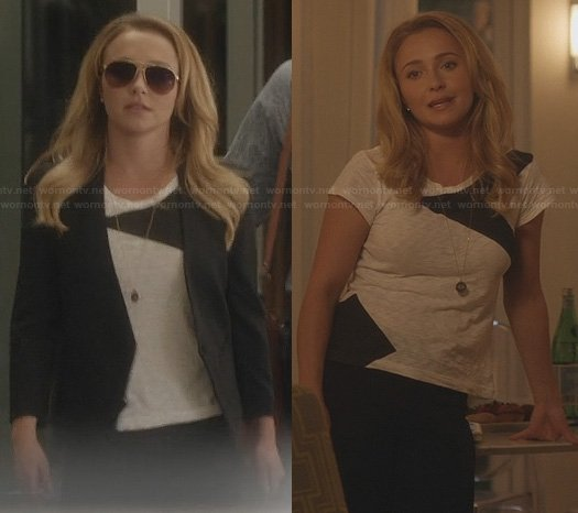 Juliette's black and white colorblock tee and cropped back blazer on Nashville