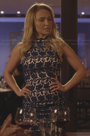 Juliette's blue lace bodycon dress on Nashville