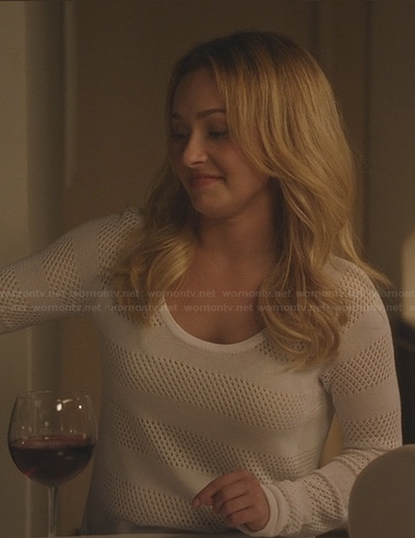 Juliette's white mesh stripe sweater on Nashville