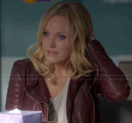 Kate's burgundy leather jacket on Trophy Wife