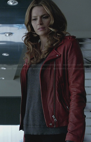 Beckett's red leather jacket on Castle