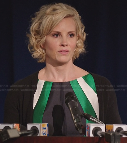 Kristina's green, black and white colorblock dress on Parenthood