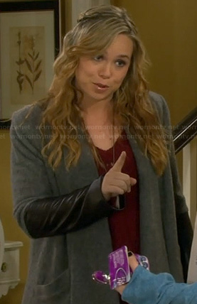 Kristin's grey draped cardigan with leather sleeves on Last Man Standing