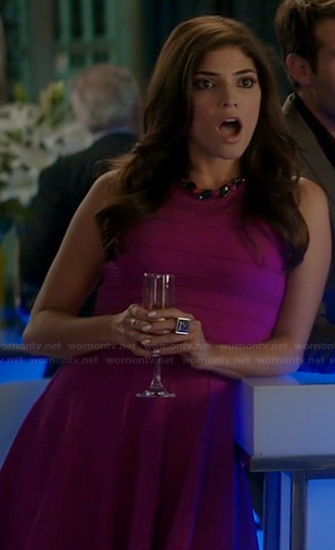 Lauren's pink fit and flare dress on The Crazy Ones