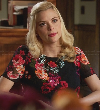 Lemon's black rose print dress on Hart of Dixie