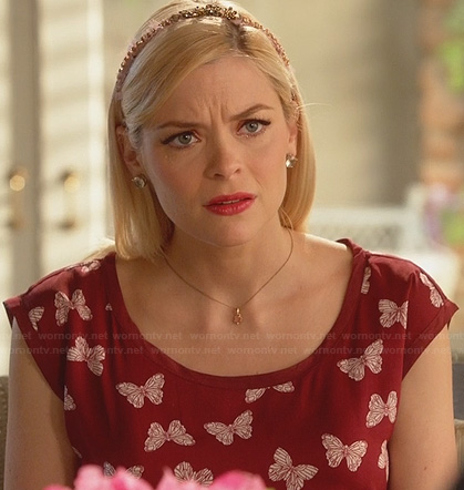 Lemon's burgundy butterfly print dress on Hart of Dixie