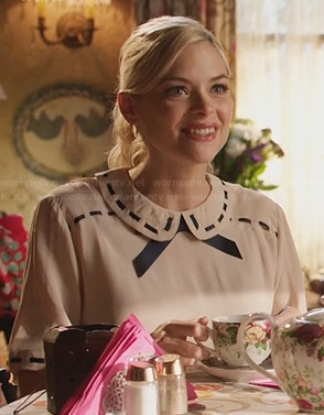 Lemon's cream top with ribbon detail collar and bow on Hart of Dixie