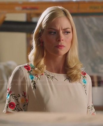 Lemon's white floral and leaf embroidered dress on Hart of Dixie